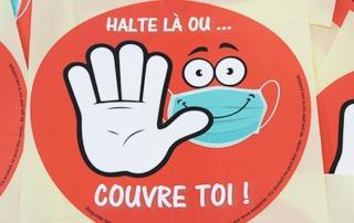 """étiquettes """" Halte au coronavirus """" gratuites ; étiquettes adhésives covid-19- etik ouest"""