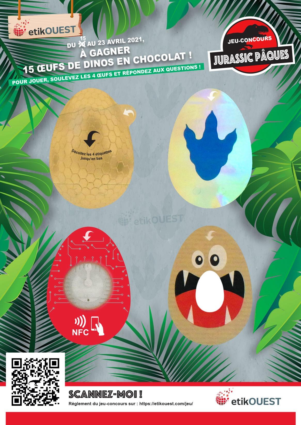 planche d'étiquettes adhésives du jeu-concours Jurassic Pâques, Etik Ouest